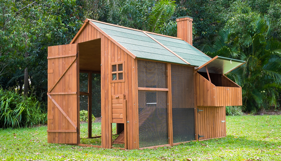 Mansion Chicken Coop with doors open