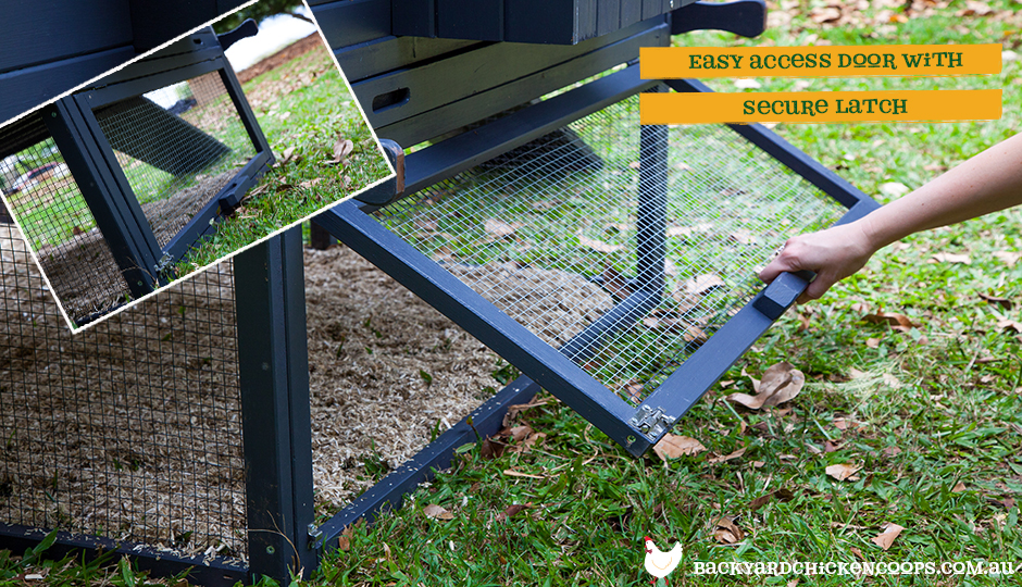 The Penthouse chicken coop allows for easy ground access to your chickens with this swing up door