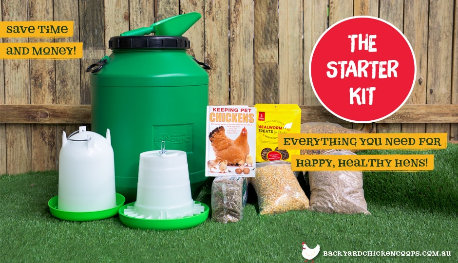 Complete Chicken Starter Kit all packaging on display.