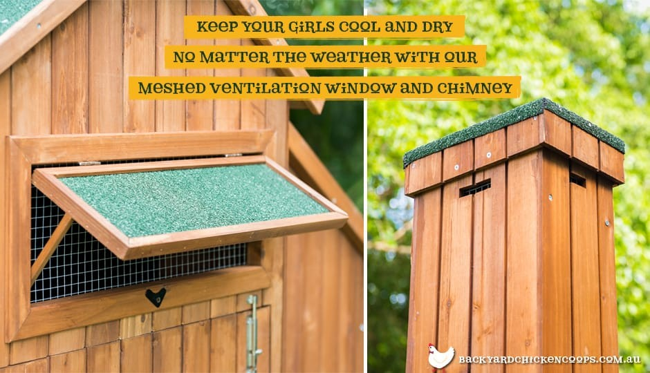 The Mansion Chicken Coop exterior view with ventilation chimney and window with mesh with text: keep your girls cool and dry no matter the weather with our meshed ventilation window and chimney.