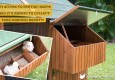 The Mansion Chicken Coop nesting boxes access with text: easy access to nesting boxes make it a breeze to collect your morning bounty.