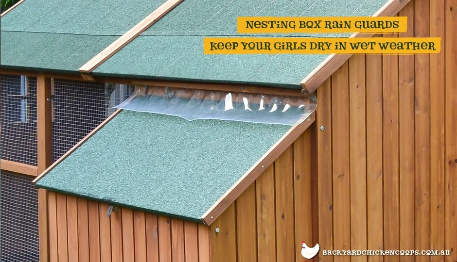 The Mansion Chicken Coop nesting boxes with rain guard with text: nesting box rain guards keep your girls dry in wet weather.