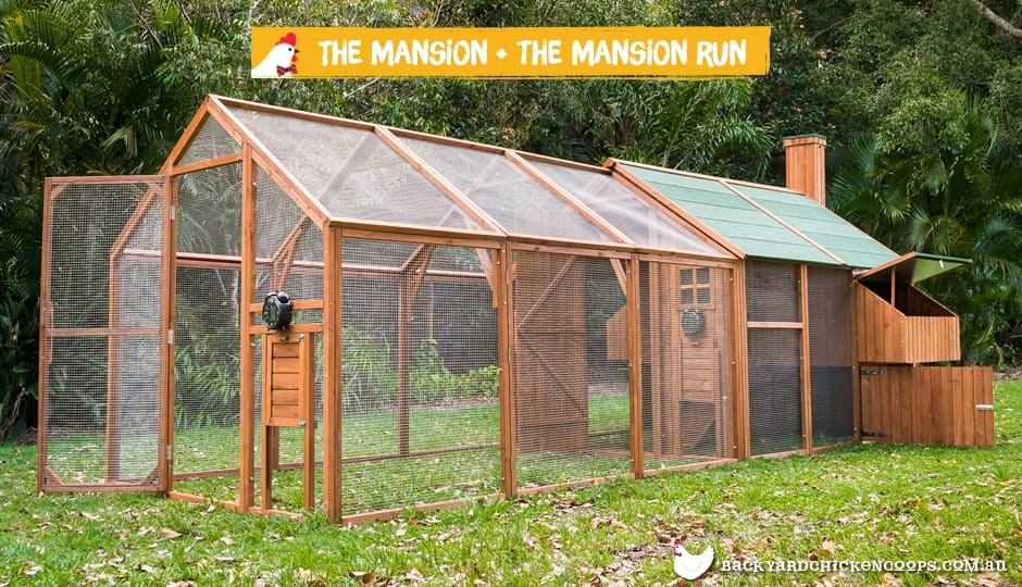 The Mansion Chicken Coop exterior view with Mansion Run attached with text: the Mansion and the Mansion Run.