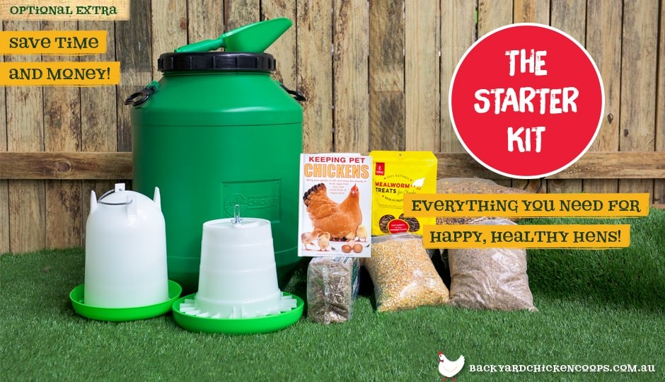 All accessories of starter kit displayed, including barrel, feed, bedding, feeder, waterer and more to go alongside our Mansion Backyard Chicken Coop.