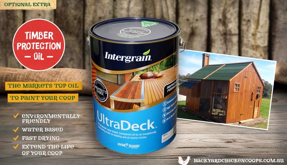 The timber protection oil protects your Mansion backyard chicken coop from weathering