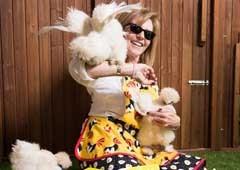 Crazy chicken lady wearing handmade chicken apron