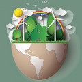 Sustainable living illustrated in an eggshell