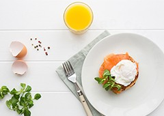 Perfect poached backyard chicken eggs go beautifully with salmon
