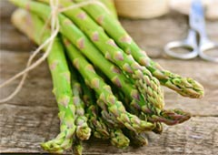 Asparagus bundle on table