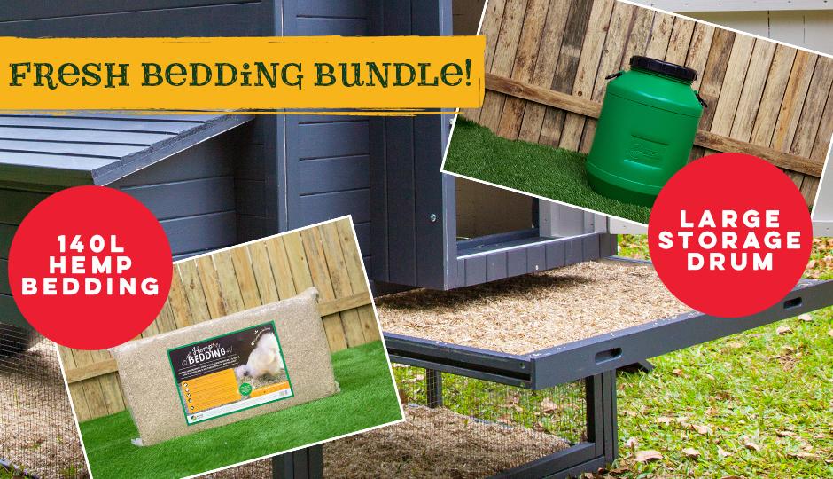 bundle hemp bedding and storage drum for chicken coop