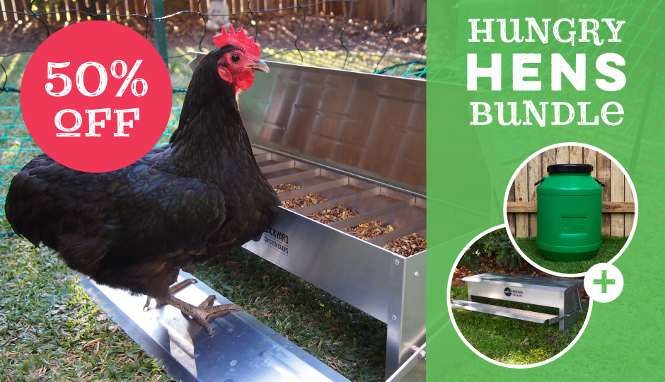 hungry hens treadle feeder and storage drum bundle